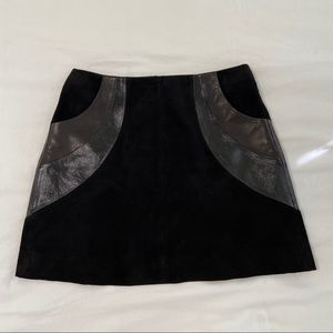 Other Stories Black Suede Leather Panel Mini Skirt
